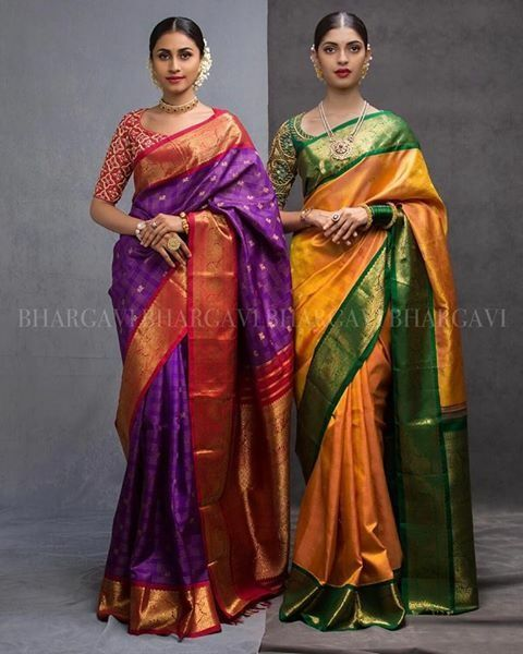 The color scheme of the green and turmeric color saree