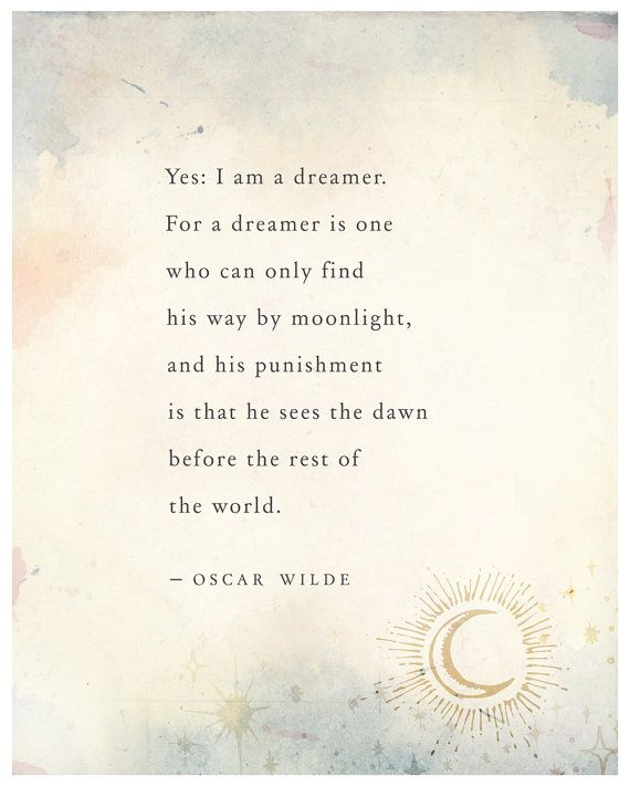 Oscar Wilde dreams quote poster, wall decor, typography print, inspirational…