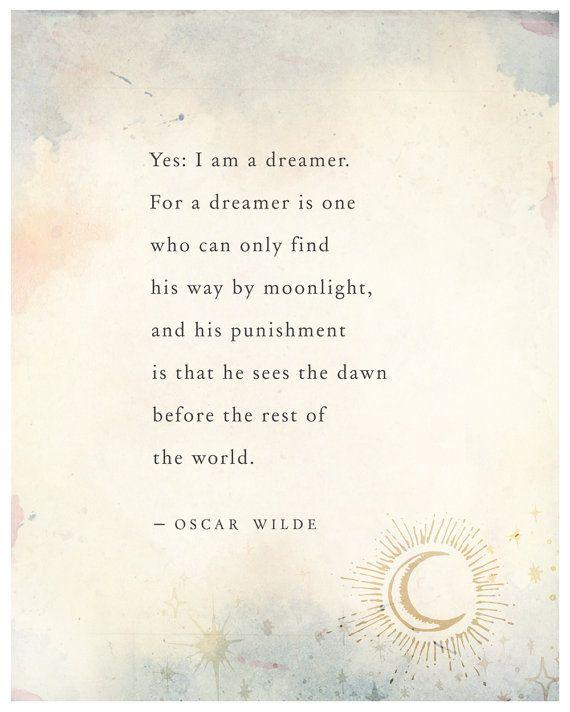 Oscar Wilde dreams quote poster wall decor by Riverwaystudios