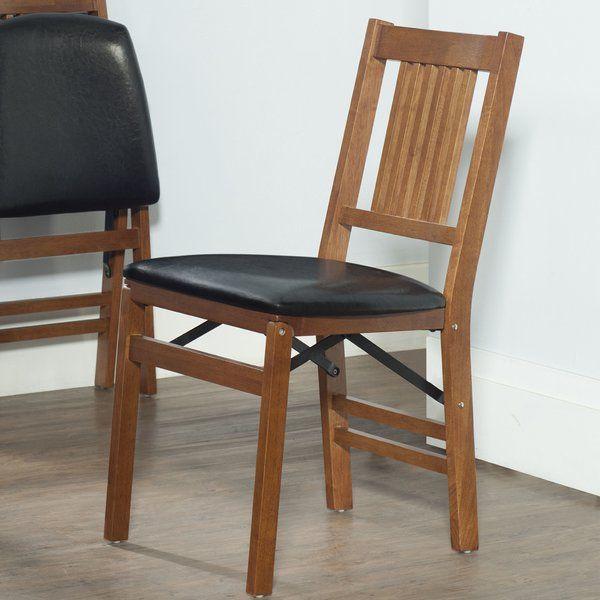 red barrel studio berkshire bois chaise avec assise vinyle pliante rh pinterest com