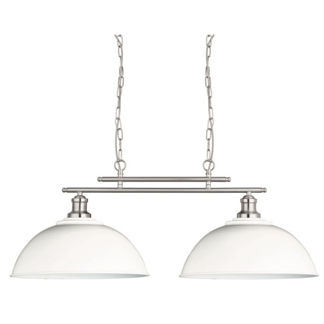 Searchlight Lighting Fusion 2 Light Ceiling Bar Pendant In Satin Silver Finish With Black Shades