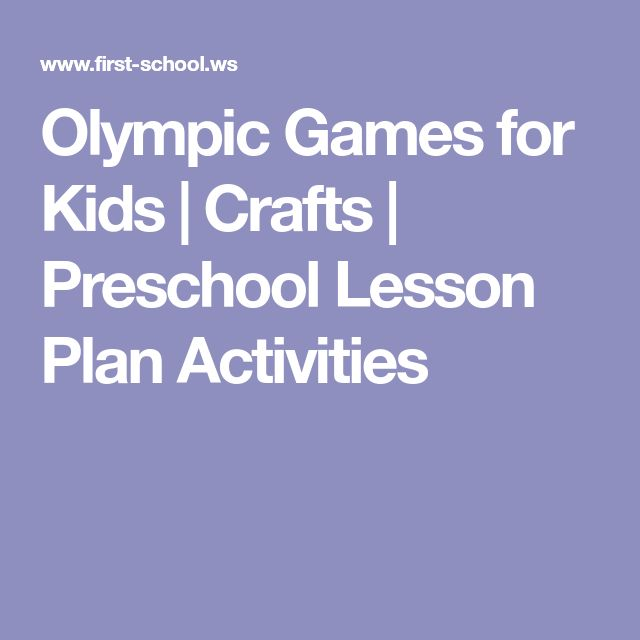 Olympic Games for Kids | Crafts | Preschool Lesson Plan Activities