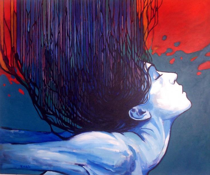 Pintura en tela de Fernando Toledo  Acryli con canas  100x120cm