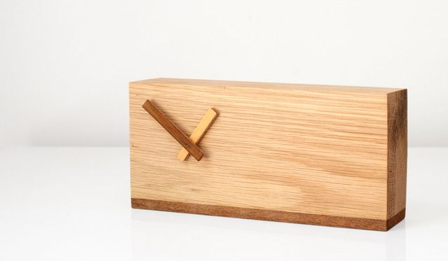 Solid Wood Clock | SOLID WOOD TWO TONE DESK CLOCK by Senkki Furniture