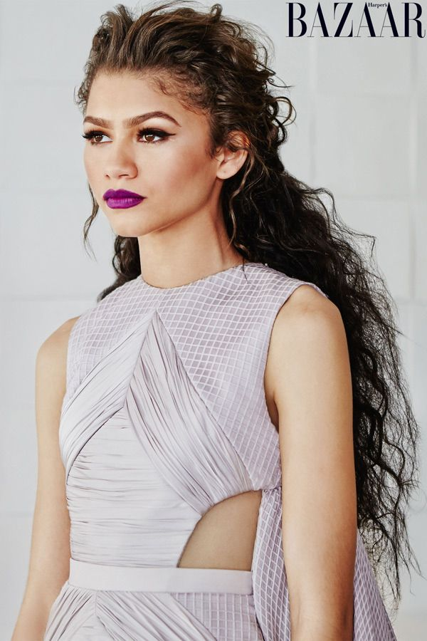 Zendaya's long wavy hair in Harper's Bazaar - love the volume! This is such a romantic style for prom.