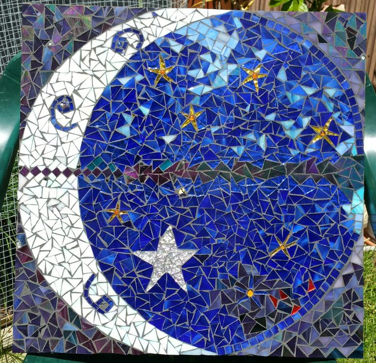Love you to the moon and back mosaic#starry night#moody blues. For my sister Cheryl, with love