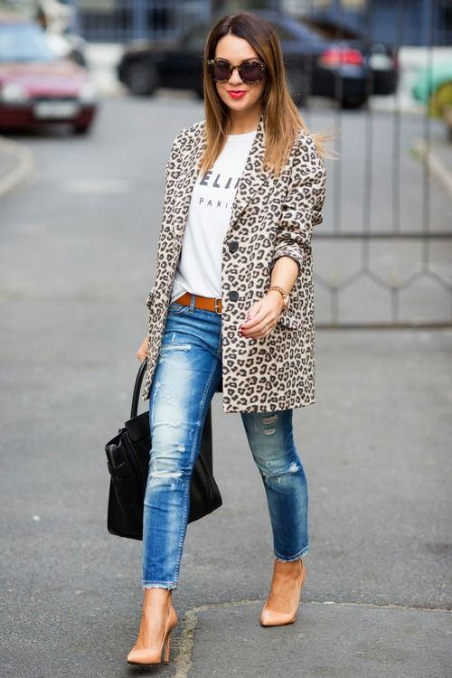 Leopard coat | tee | jeans | heels