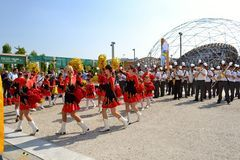 Milan Institute Martinitt e Stelline with majorette show at the EXPO 2015. Royalty Free Stock Photography