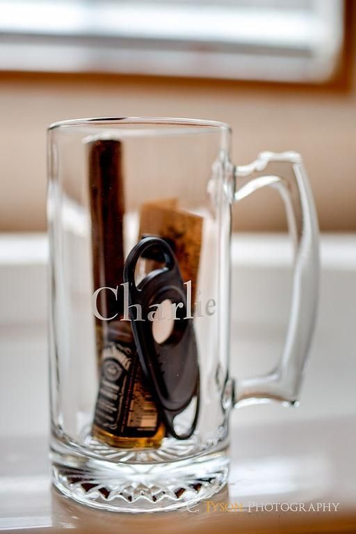 Great groomsmen gift idea // Personalized Beer Stein, Cigar, Cigar clipper, and a mini-bottle of booze