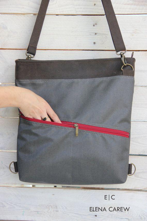 Sac à main gris, sac avec poches, sac à main gris, sac à main sac à dos Convertible, femmes de sac en cuir pour ordinateur portable, sac à main Hipster