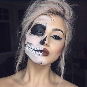 Gorgeous Skull Halloween Makeup. 10 gorgeous halloween makeup looks! Cheetah makeup, spider girl makeup, deer makeup, doe makeup, fawn makeup, fairy makeup, pop art makeup, fairy makeup, unicorn makeup, mermaid makeup, sugar skull makeup. Love this site with all of the gorgeous inspiration.