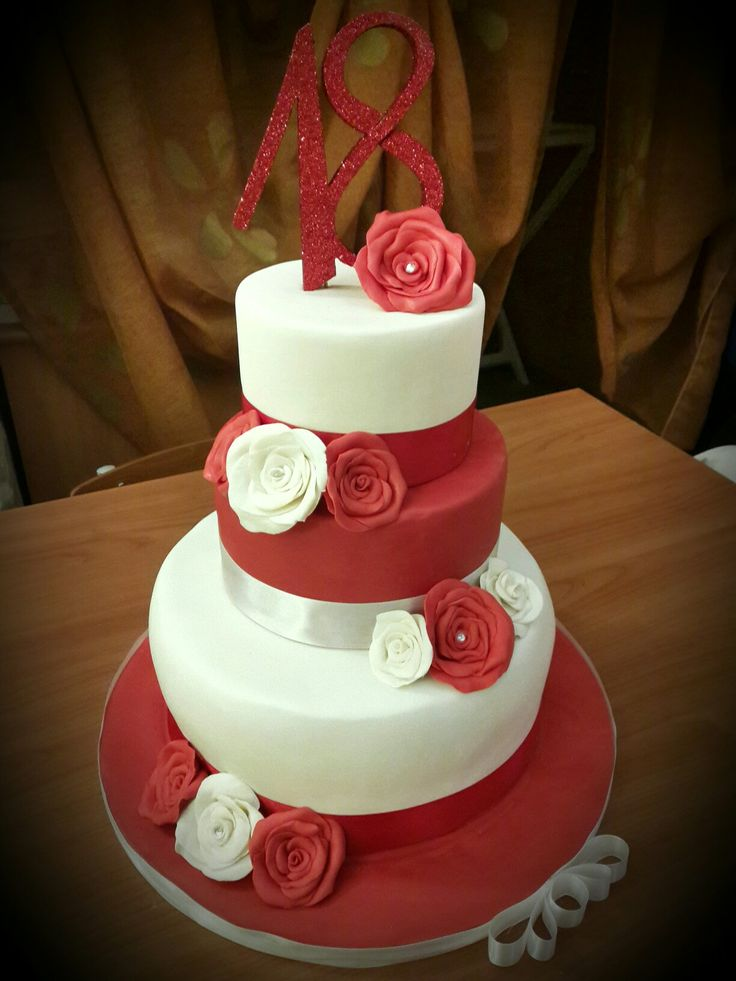 Red u0026 white 18th birthday cake 59