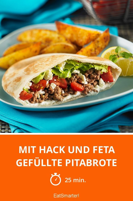 Mit Hack und Feta gefüllte Pitabrote - smarter - Zeit: 25 Min. | eatsmarter.de