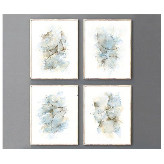 4 Piece Wall Art Print Set Abstract Painting Watercolor In Blue