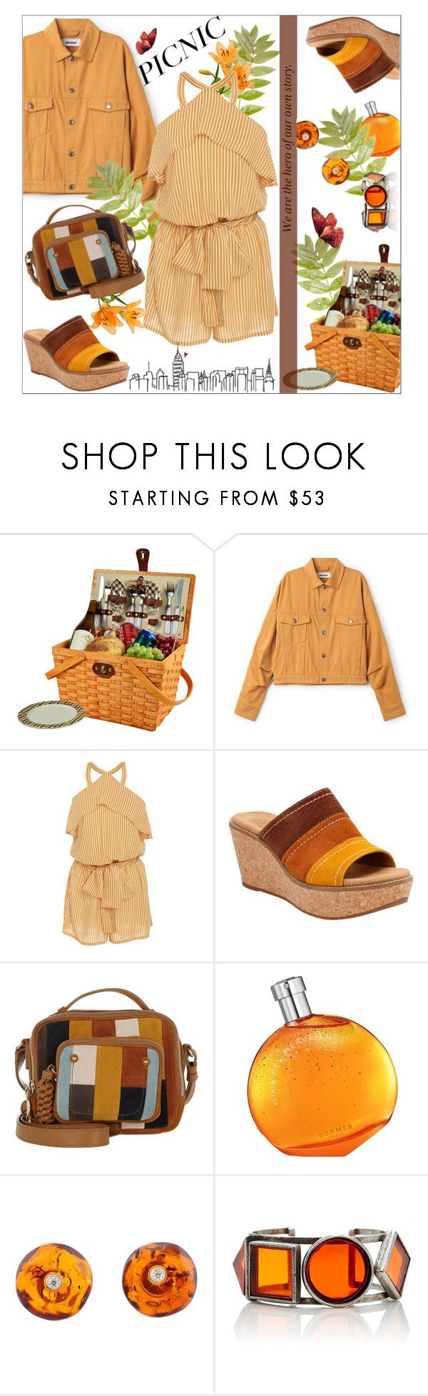 """Picnic Date"" by dani-elan ❤ liked on Polyvore featuring Picnic at Ascot, Faithfull, Clarks, See by Chloé, Hermès and Be-Jewelled"