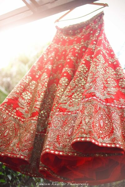 Bridal Lehengas - Mirror Work Red Bridal Lehenga with Big Embroidered Border | WedMeGood  #wedmegood #red #lehenga #indianbride #indianlehenga #mirrorwork