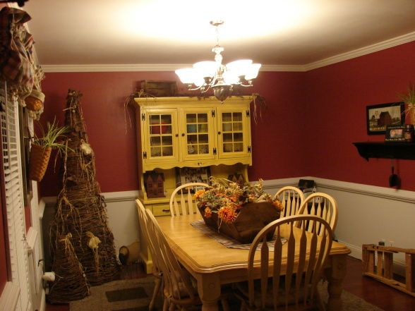 Red Dining Room With Country Charm This Is Our That Was Just Redone I Kept My Old Table And Refurbished Moms Hutch To Match