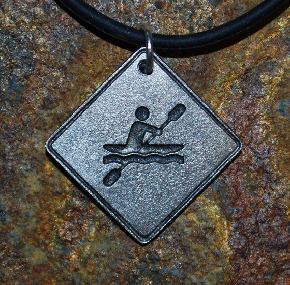 Pewter Kayaker Necklace Road Sign Series