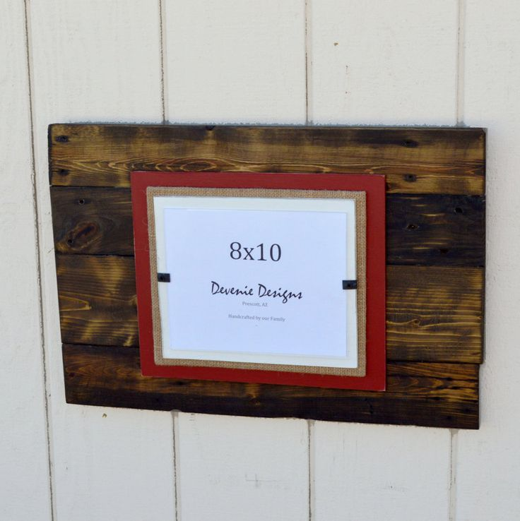 plank reclaimed wood frame holds 8x10 photo 16x24 overall red burlap