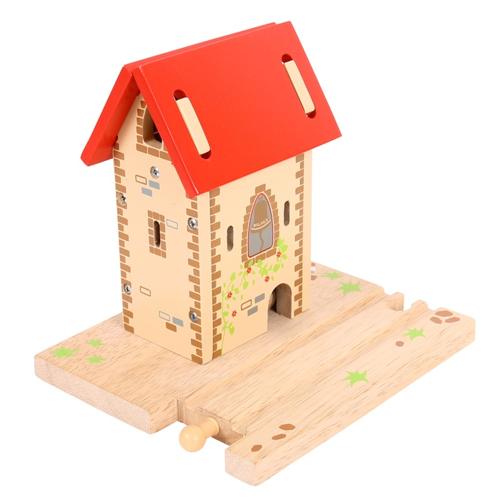 Here's something unusual that will be sure to attract a youngster's attention! This bell tower uses magnets hidden within its walls to enable the bell to ring when a train passes. Likely to be situated at a busy part of the network, and provides a warning to all those in the local vicinity! Compatible with other leading wooden rail networks. Made from high quality, responsibly sourced materials. Consists of 3 play pieces. Ages 3 and up.  COMING SOON!