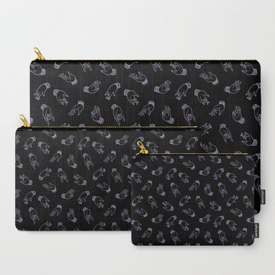 Mudras in Black Carry-All Pouch by ANNI BERNET @society6