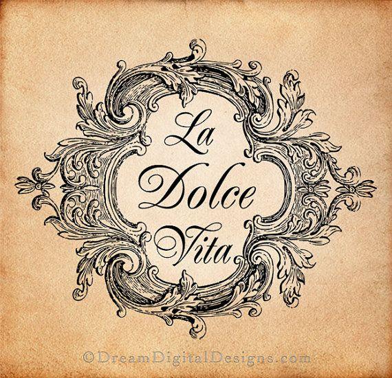La Dolce Vita Digital Download for Image Transfers Fabrics Pillows Shabby Chic…