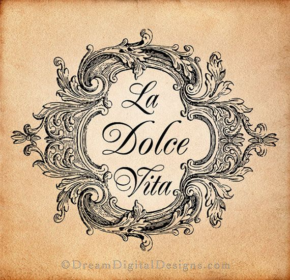 La Dolce Vita Digital Download for Image Transfers Fabrics Pillows Shabby Chic Burlap Altered Art Printable Image No. 224. $4.20, via Etsy.