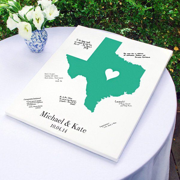 Contemporary guest book alternative for modern bride, gallery-wrapped canvas custom printed with state where you and your spouse met provides focal point for guests to sign. Find your state here:  http://myweddingreceptionideas.com/personalized-home-state-guest-signature-canvas.asp
