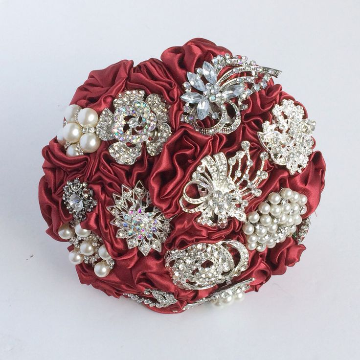 Red Fabric and Brooch Bouquet by Florio Designs