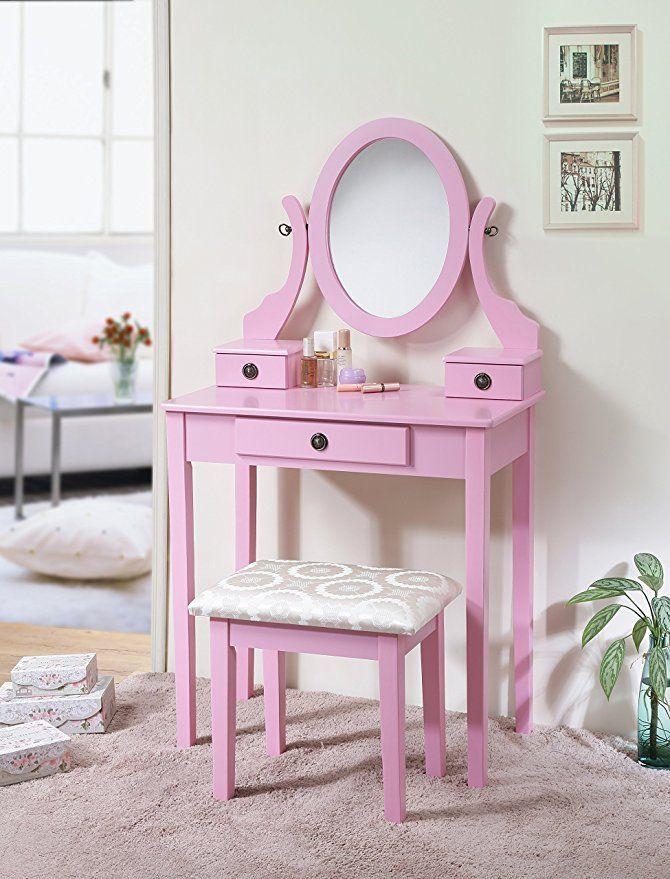 Roundhill Furniture 3415pi Moniys Wood Moniya Makeup Vanity Table