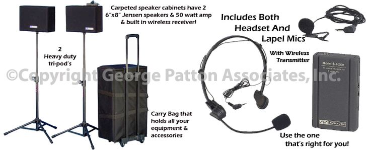 Portable Wireless Sound System, 2 Stands, 2 Speakers, Headsets and Lapel Mics
