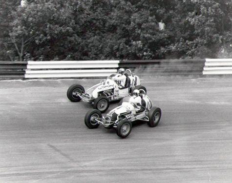 Parnelli Jones and A.J. Foyt, Salem Speedway (Ind.), 1961.