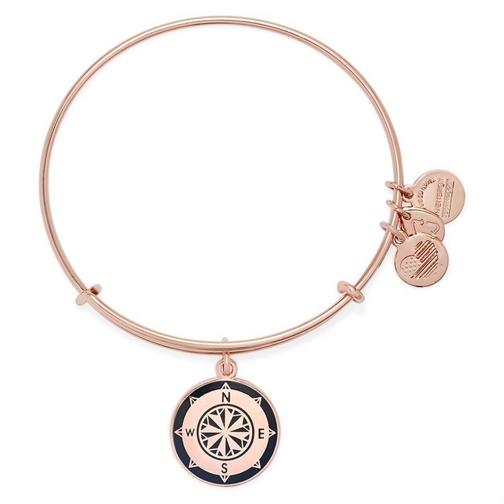 Charcoal Compass Charm Bangle | ALEX AND ANI