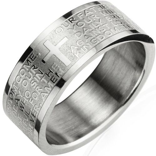 Stainless Steel English Lord's Prayer 8mm Band Ring - Men: Jewelry: Amazon.com