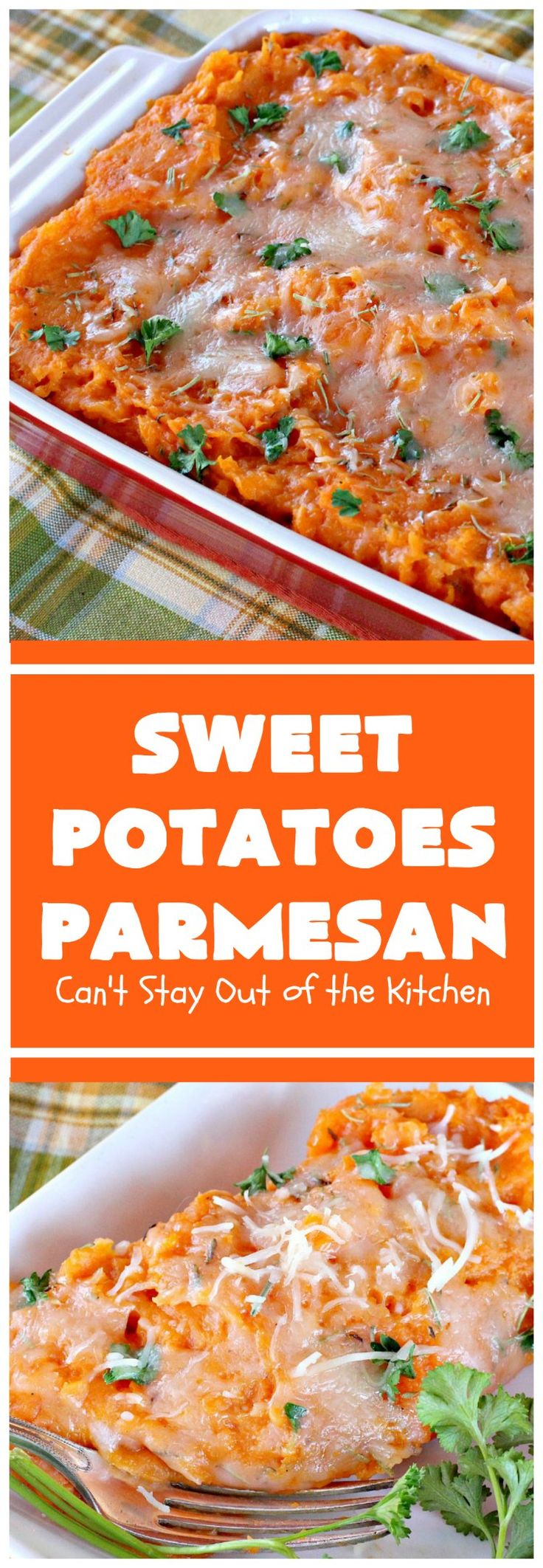 Sweet Potatoes Parmesan   Can't Stay Out of the Kitchen   this is one of our favorite savory #sweetpotato #casseroles. It's filled & topped with #parmesancheese. Great for #Thanksgiving or #Christmas.