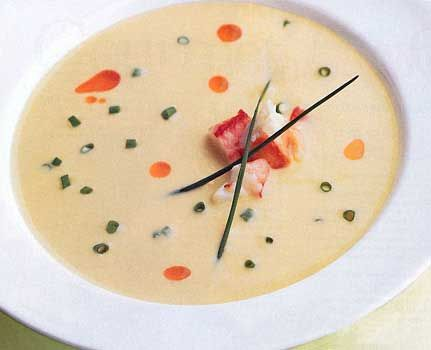 Chilled Corn Soup with Crab and Chile Oil; pairs well with Chardonnay. I think this would be great for summer...