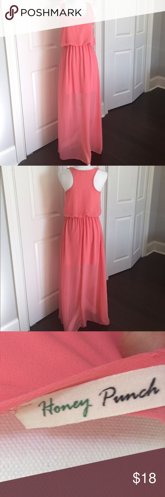Coral Maxi Dress Flowy coral maxi dress size small. Worn only a few times. Good condition. Dresses Maxi
