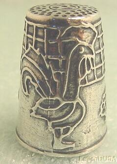 Sterling Silver ROOSTER Sewing Thimble Size 8 #322