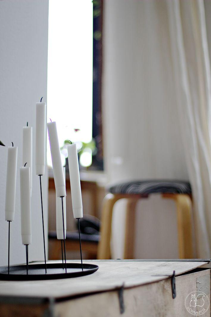 Oravanpesä   Eno Multi Candle Pin -kynttilänpidike, Aalto baarijakkara 64 ja vanha vanerilaatikko