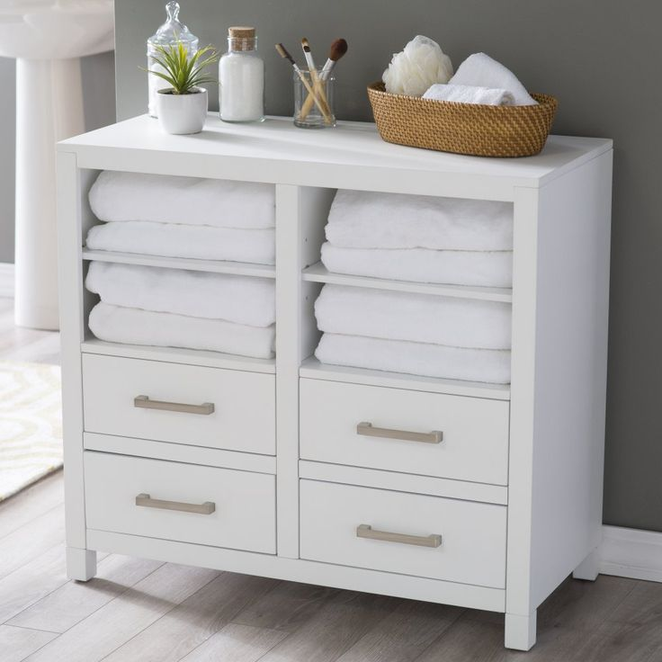 Belham Living Longbourn Bathroom Floor Cabinet - Keep fresh linens, paper products, and toiletries clean and close-at-hand in this Belham Living Longbourn Bathroom Floor Cabinet. Crafted with...