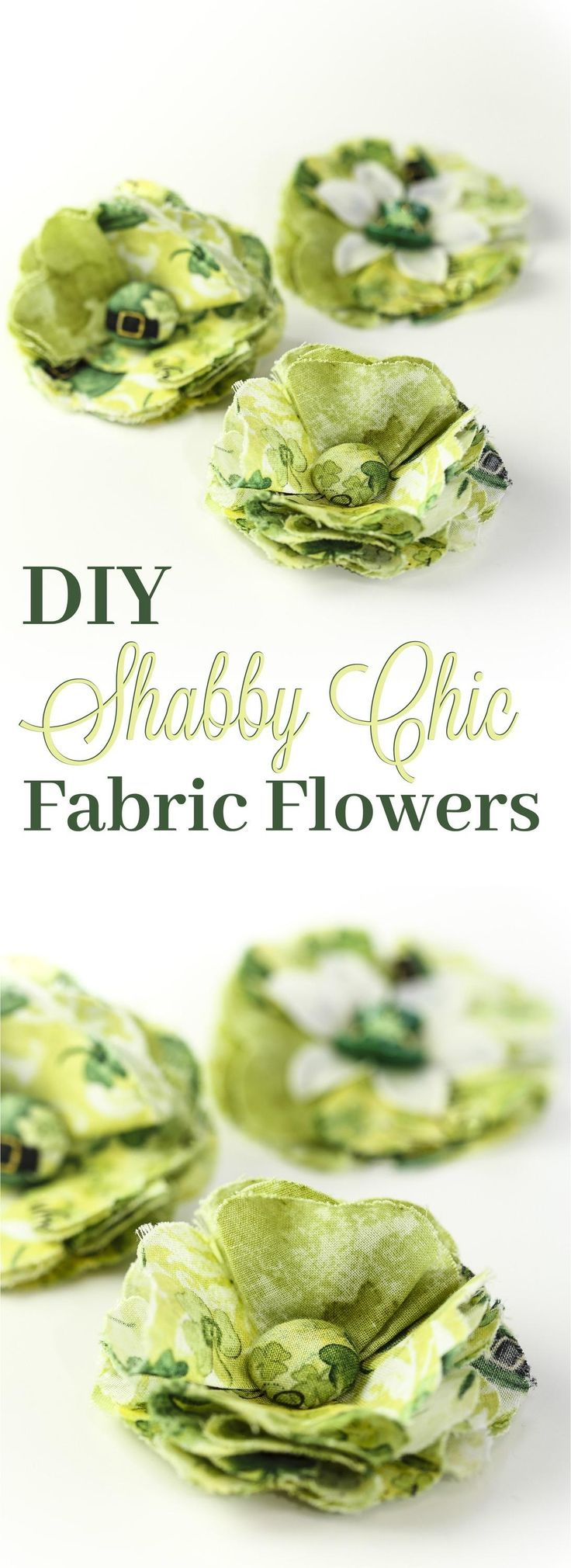 Stunning Shabby Chic Fabric Posy without the Boutique Price! These DIY Fabric Flowers can be used as hair accessories, jewelry, or even a bag accessory! Perfect for St. Patricks day, or simply change the fabric and you can match any holiday season or spec