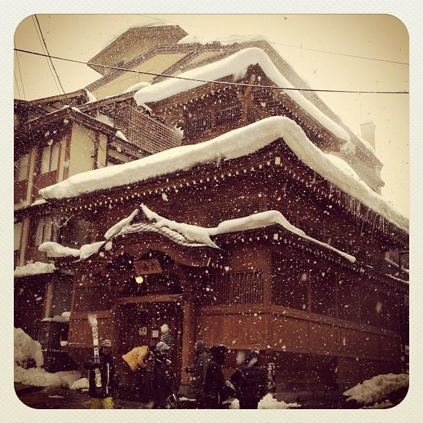Nozawa Onsen, Snow Falling on Public Onsen