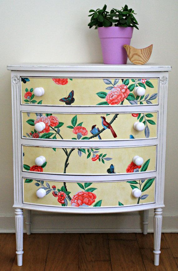 Stunning upcycled bow fronted chest of drawers