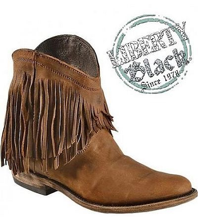 Fringe is in!!!  These short fringe boots are the perfect boots for spring and summer.  Pair them with a cute dress for fun fashion that'll make heads turn.  #libertyblackboots