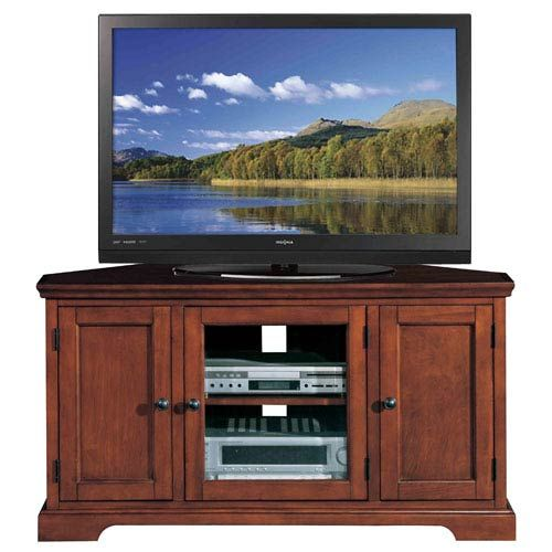 Westwood Brown Cherry 46 Inch Corner Tv Stand Leick Furniture Corner Tv Cabinets Tv