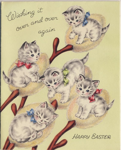 """Wishing It Over and Over Again..Happy Easter"" - adorable vintage Pussy Willows"