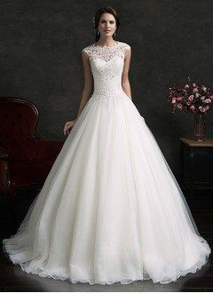 Ball-Gown Scoop Neck Court Train Organza Wedding Dress With Lace Appliques Lace - Alternative Measures -
