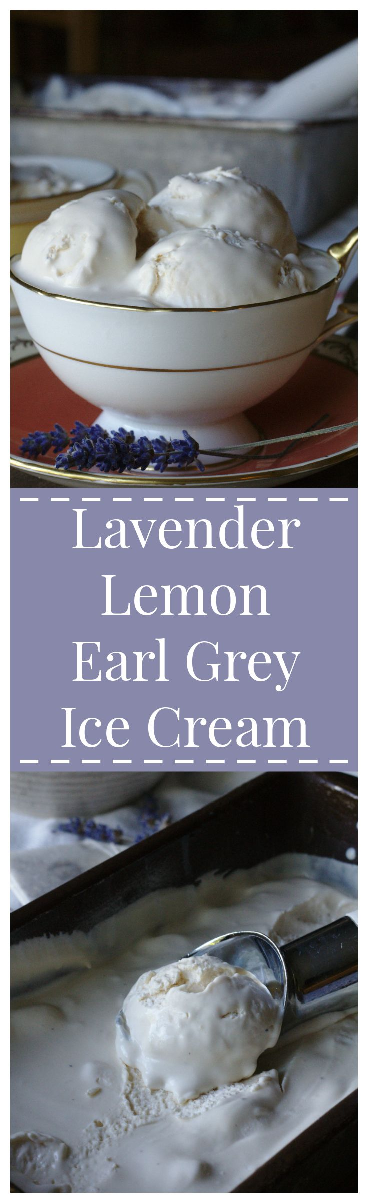 Lavender Lemon Earl Grey Ice Cream – A simple, yet elegant dessert made with lavender earl grey tea, fresh lemon juice, and creamy no-churn ice cream base.