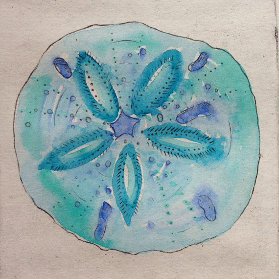 Sand Dollar artwork, watercolour and drypoint sea shell print | surf
