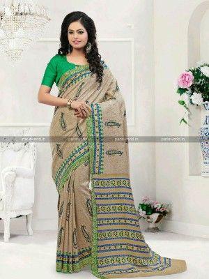 Beige N Green Pashmina Classy Casual Saree